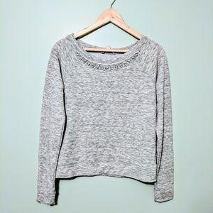 DECREE rhinestone embellished crewneck sweater